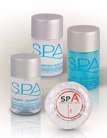 SET DE 3 BOTELLAS SPA25 M.L. ( GEL, CHAMPU Y BODY MILK ) CON PASTILLA DE JABON 10 GR. (1)