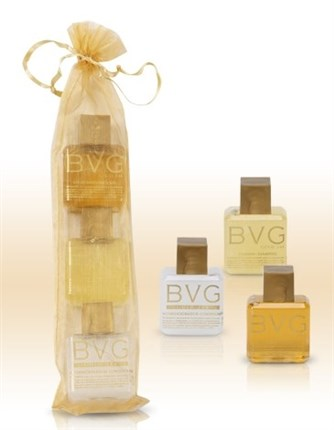 SET TRES BOTELLAS 35 M.L. ORO LIQUIDO GEL, CHAMPU Y BODY MILK